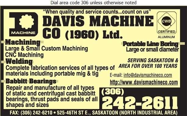 Davis Machine Co (Jim Rhode Res) - Machine Shops Digital Ad