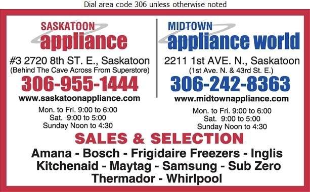 Saskatoon Appliance Distributors Ltd - Appliances Major Sales, Service & Parts Digital Ad