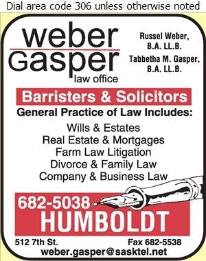 Weber & Gasper Law Office - Lawyers Digital Ad