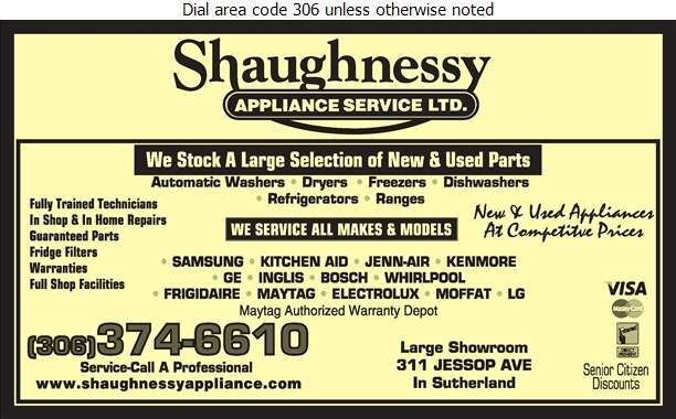 Shaughnessy Appliance Service Ltd - Appliances Major Sales, Service & Parts Digital Ad