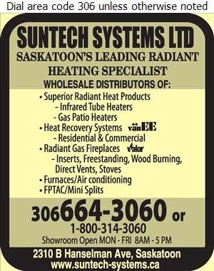 Suntech Systems Ltd - Heating Equipment & Systems Digital Ad