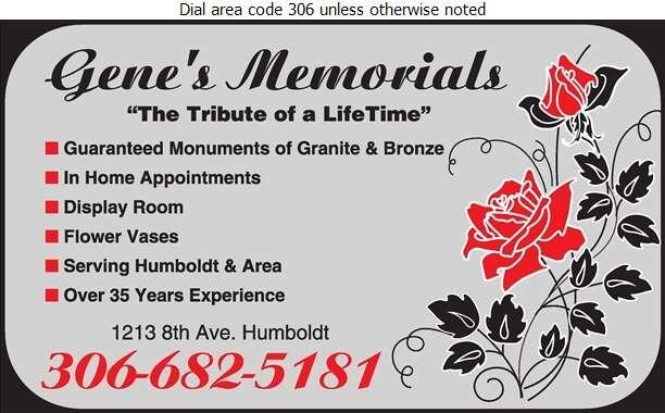 Gene's Memorials - Monuments Digital Ad