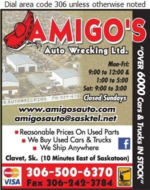 Amigo's Auto Wrecking Ltd - Auto Wrecking Digital Ad