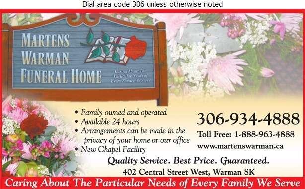 Martens Warman Funeral Home Inc - Funeral Homes & Planning Digital Ad