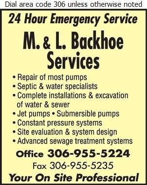M & L Backhoe Services Ltd - Septic Tanks Sales & Service Digital Ad