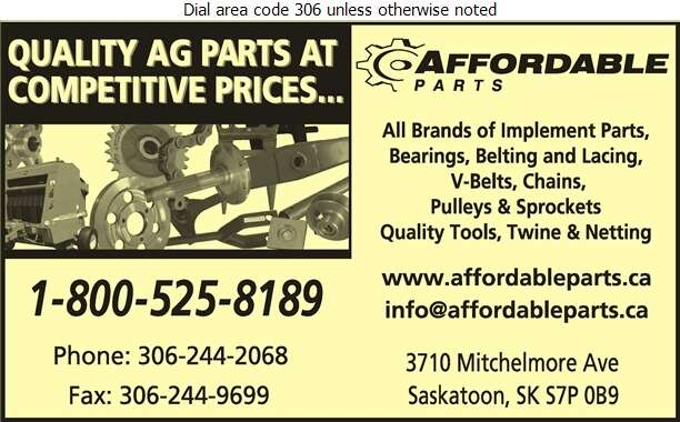 Affordable Parts - Agricultural Implements Sales, Service & Parts Digital Ad