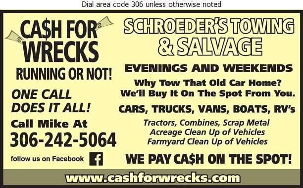 Schroeder's Towing & Salvage - Scrap Metals Digital Ad