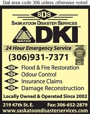 Saskatoon Disaster Services - Fire Damage Restoration Digital Ad