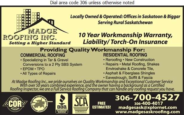 Madge Roofing Inc - Roofing Contractors Digital Ad