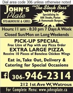 John's Plate Steakhouse & Grill - Restaurants Digital Ad