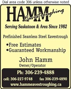 Hamm Eavestroughing - Eavestroughing Digital Ad