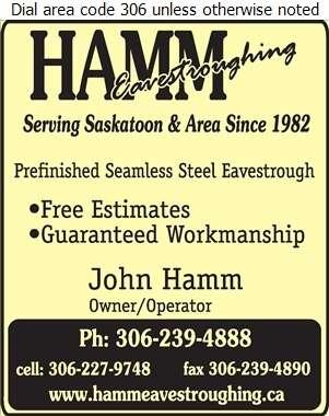 Hamm Eavestroughing - Eavestroughing Digital Ad