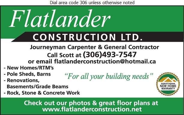 Flatlander Construction Ltd - Home Builders Digital Ad