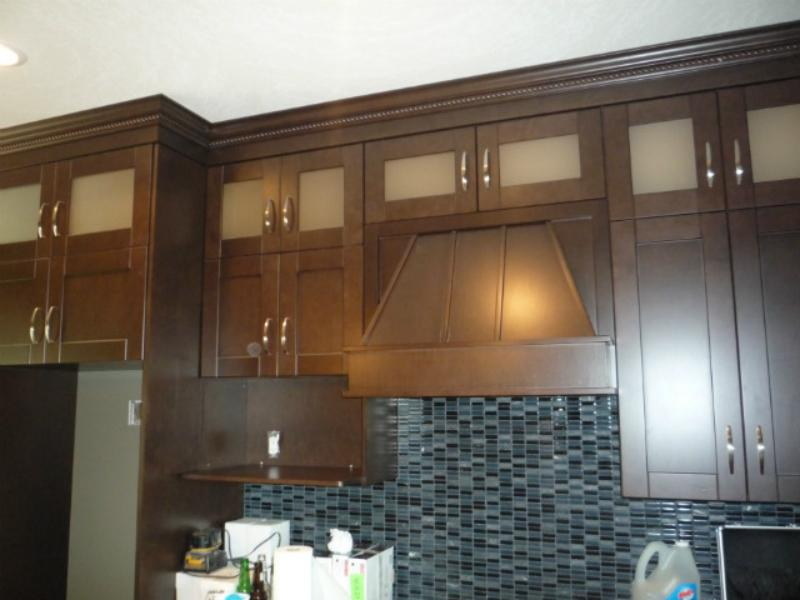 Double stacked cabinets - 9 foot ceilings