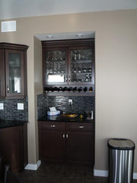 Shaker style built in bar cabinet