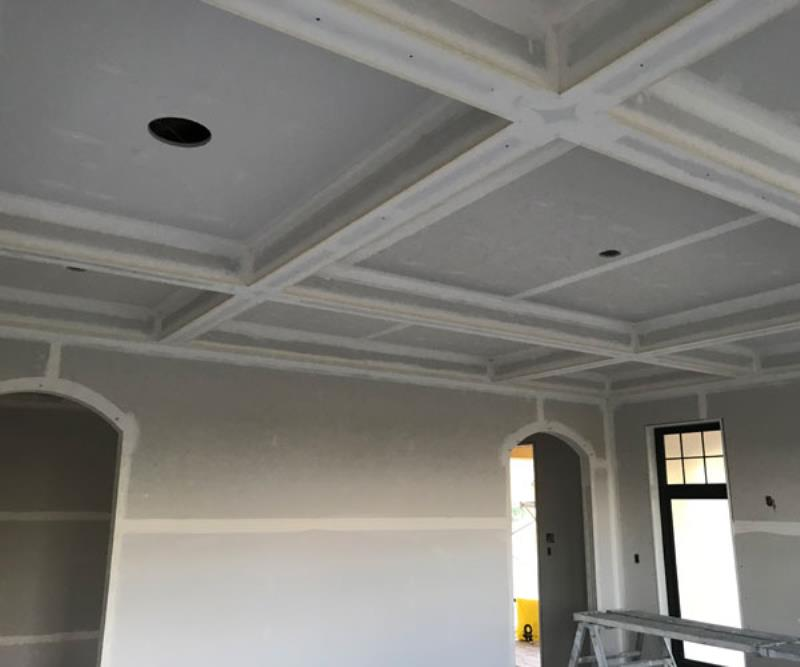 Coffered ceiling by Kelturn Drywall Ltd Regina, SK.