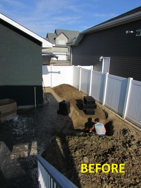 Swift Current landscaping, backyard outdoor waterfall, natural stones