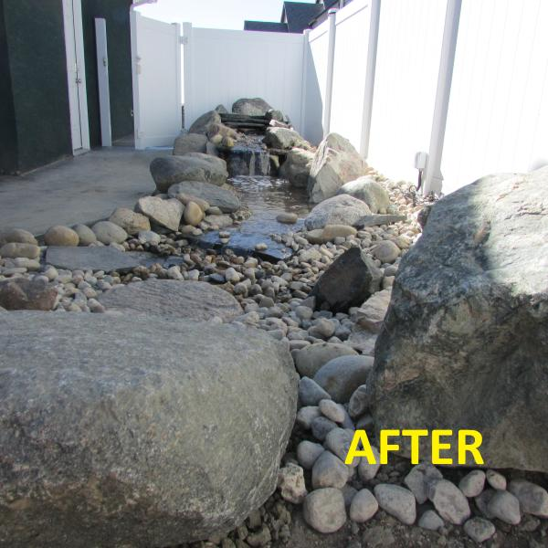 Swift Current landscaping, backyard outdoor waterfall, beautiful natural stones, crushed rock