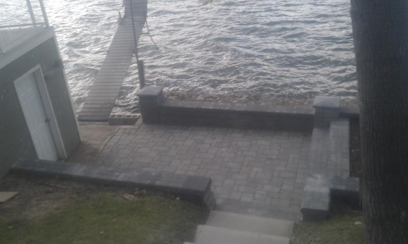 Prud'Homme lakeside patio, beautiful stone work, stone steps, landscaping