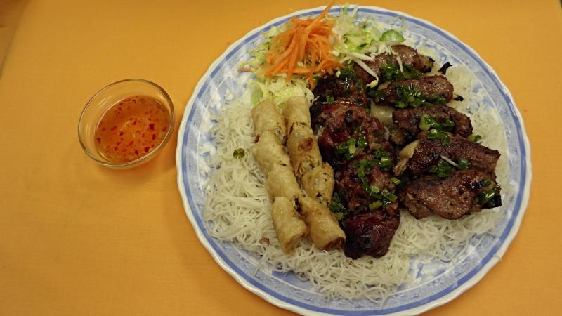 Viet Trung Garden Rice Vermicelli with Skewer Pork and Skewer Beef with Springrolls